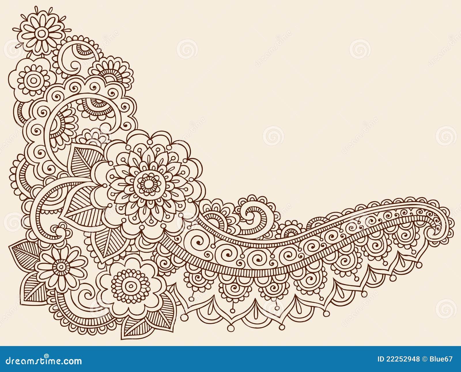 Henna Mehndi Doodle Vector Design Elements Stock Vector