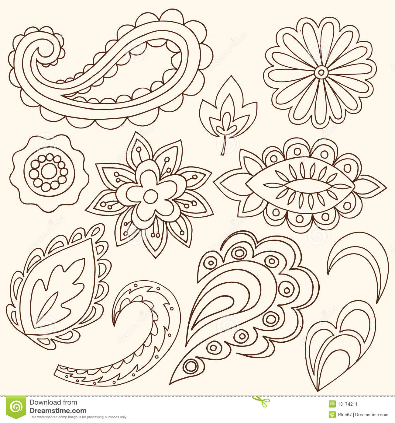henna mehndi flowers and paisley vector stock vector image 13174211. Black Bedroom Furniture Sets. Home Design Ideas