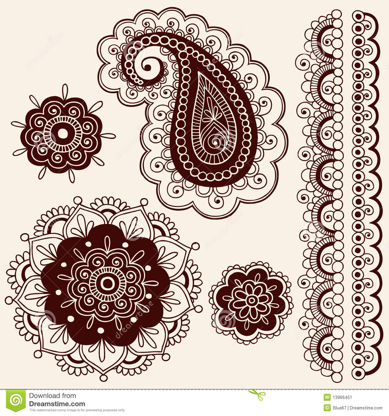 Henna Mehndi Flowers And Paisley Vector Stock Vector Illustration