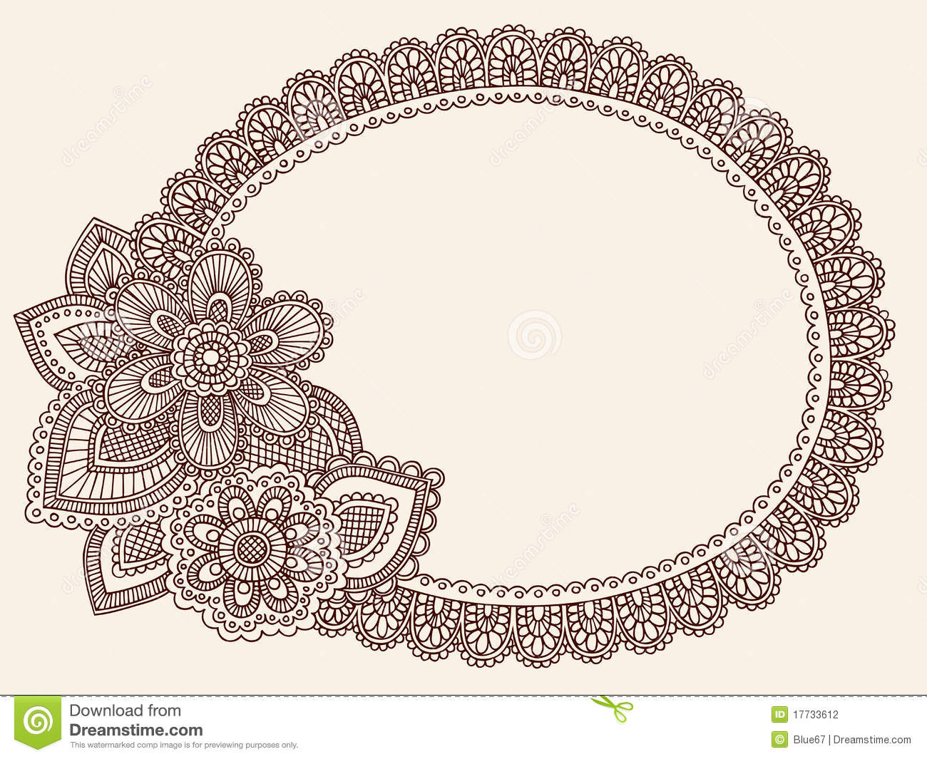 Abstract henna mehndi lace doily paisley flower doodle frame vector