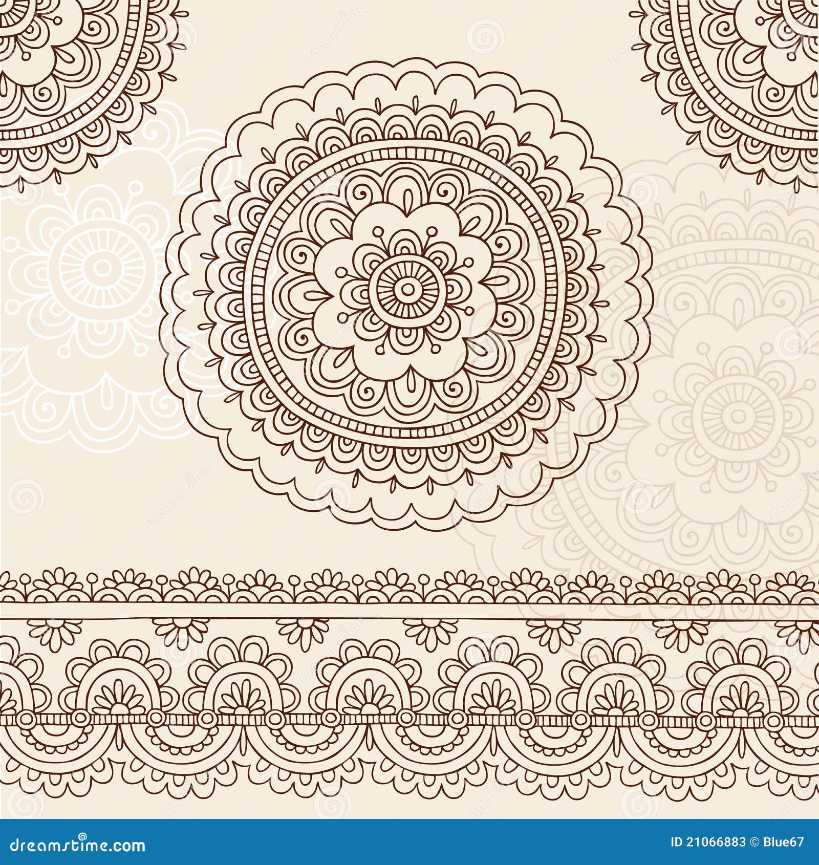 Henna mehndi mandala doodle vector design elements stock - Doodle dessin ...
