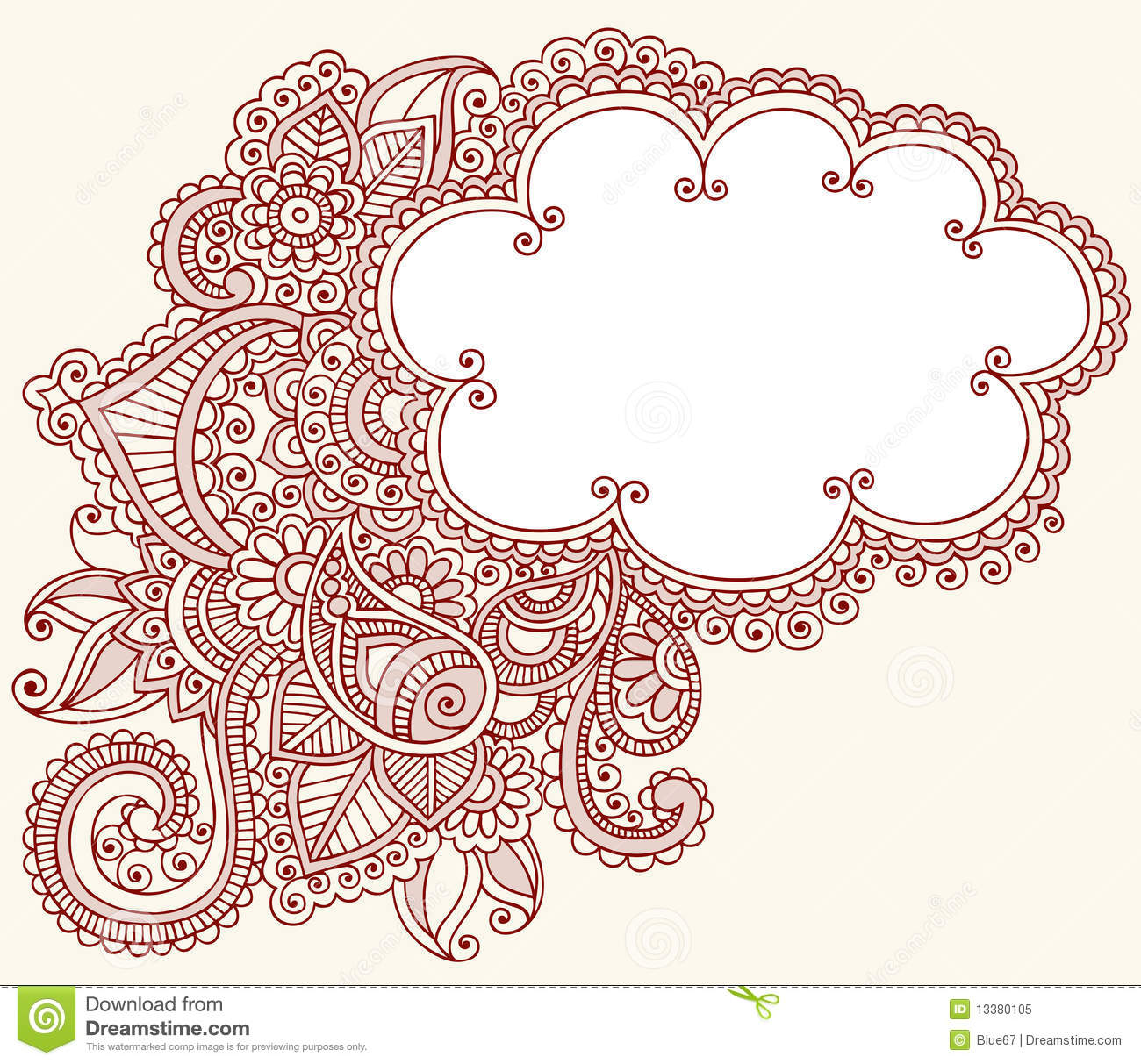 Henna Mehndi Paisley Cloud Doodle Design Stock Vector Illustration