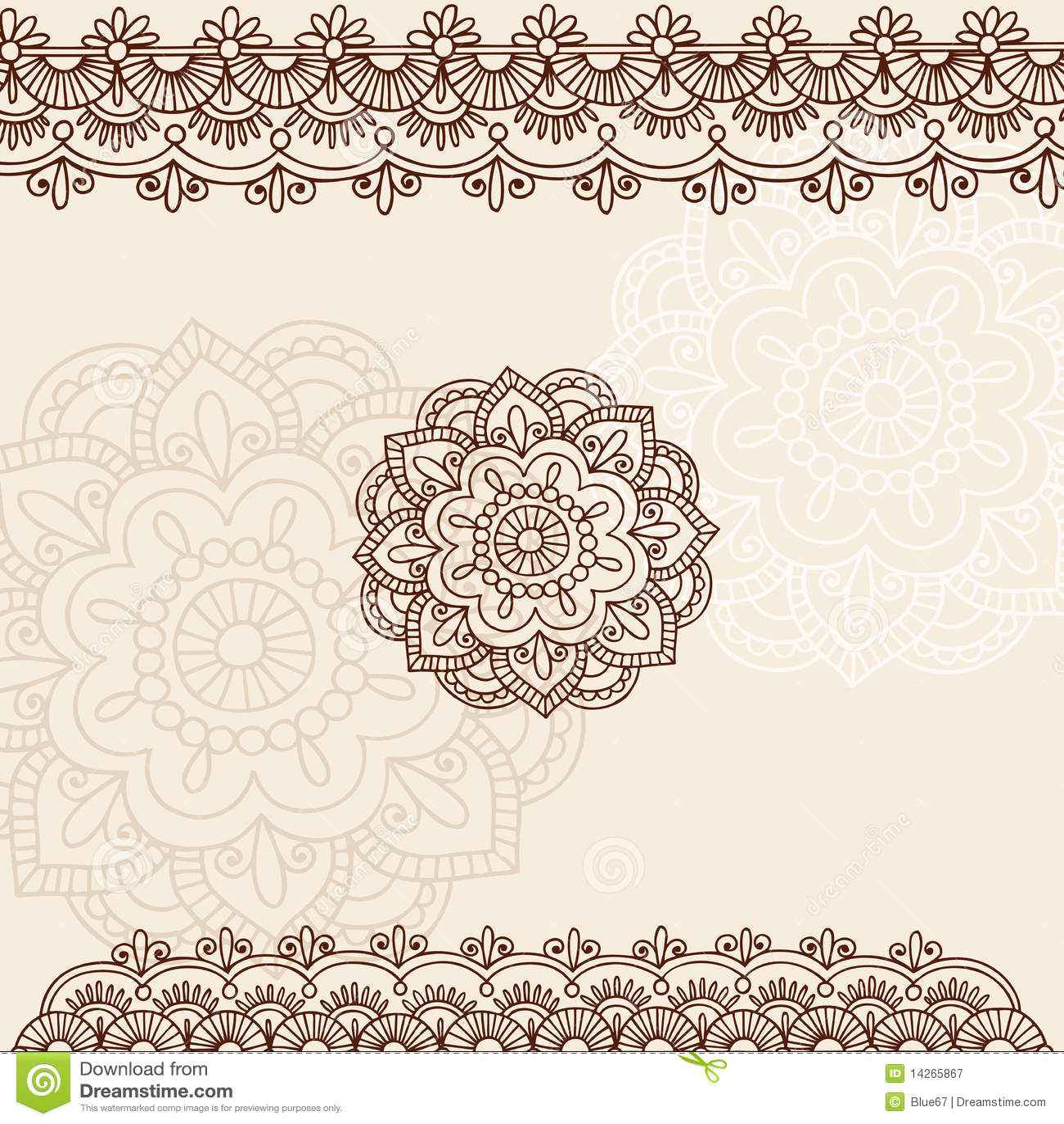 Henna Mehndi Paisley Doodle Vector Design Stock Vector