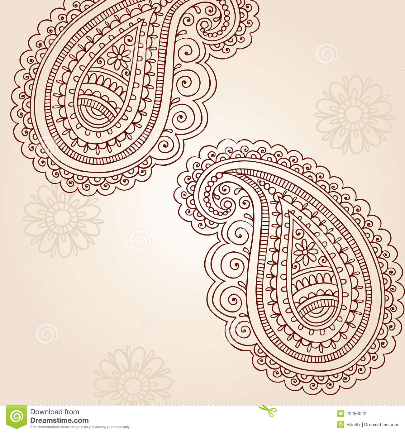 Henna Mehndi Paisley Doodle Vector Design Elements Stock Vector