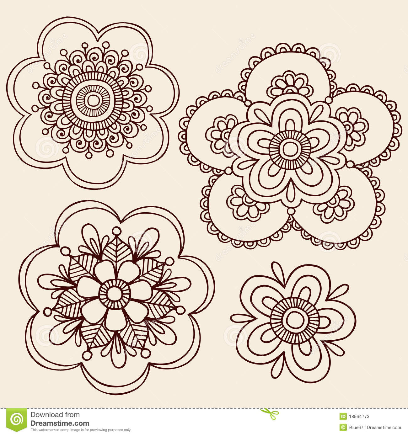 Hand-Drawn Abstract Henna Mehndi Tattoo Flower Mandala Medallion ...