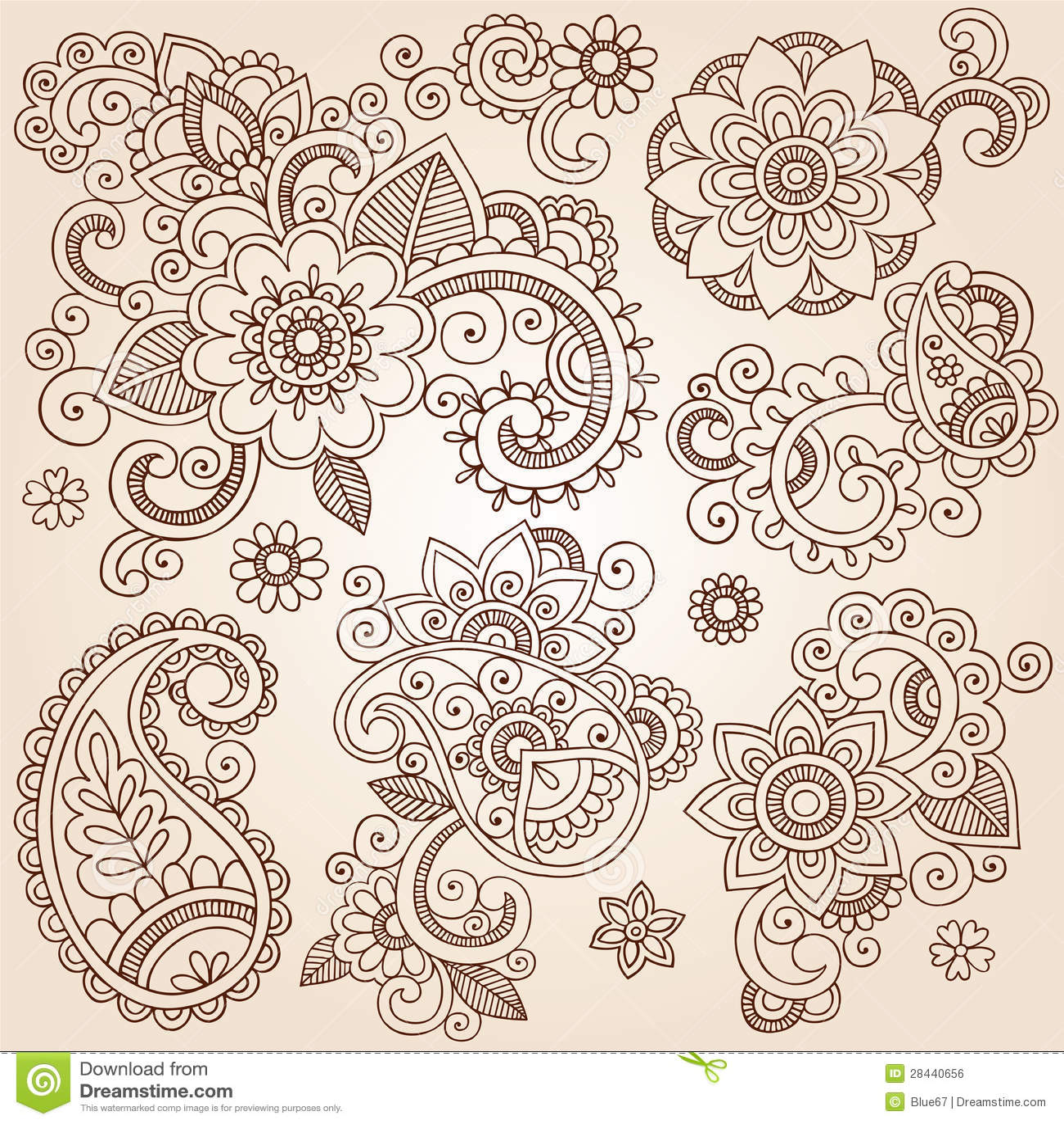 henna mehndi paisley flowers vectortatoegering illustr