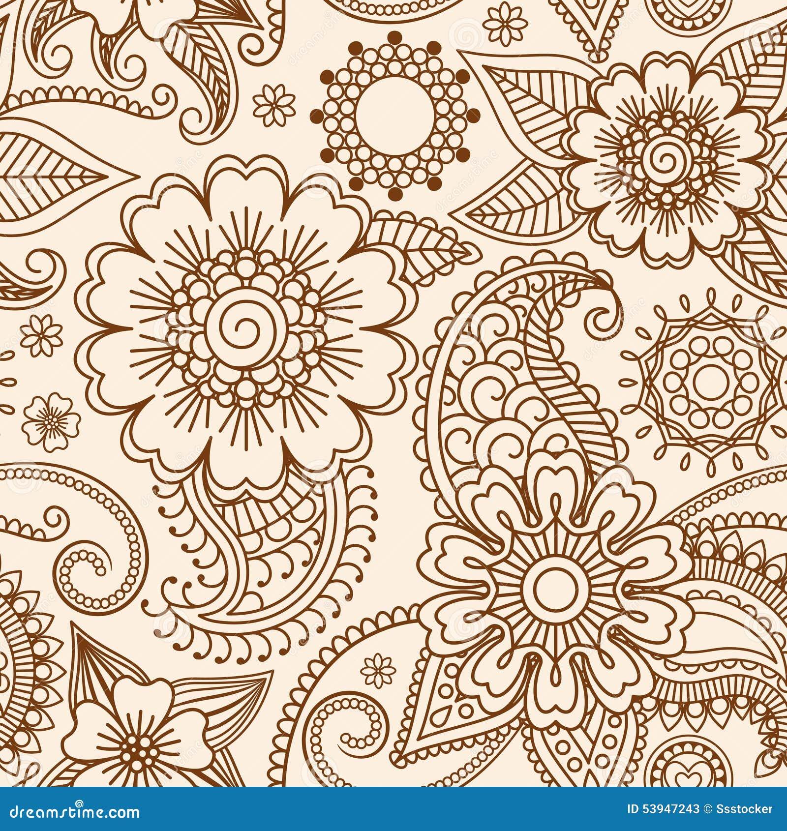 Henna Mehndi Vector Free : Henna mehndi seamless pattern stock vector image