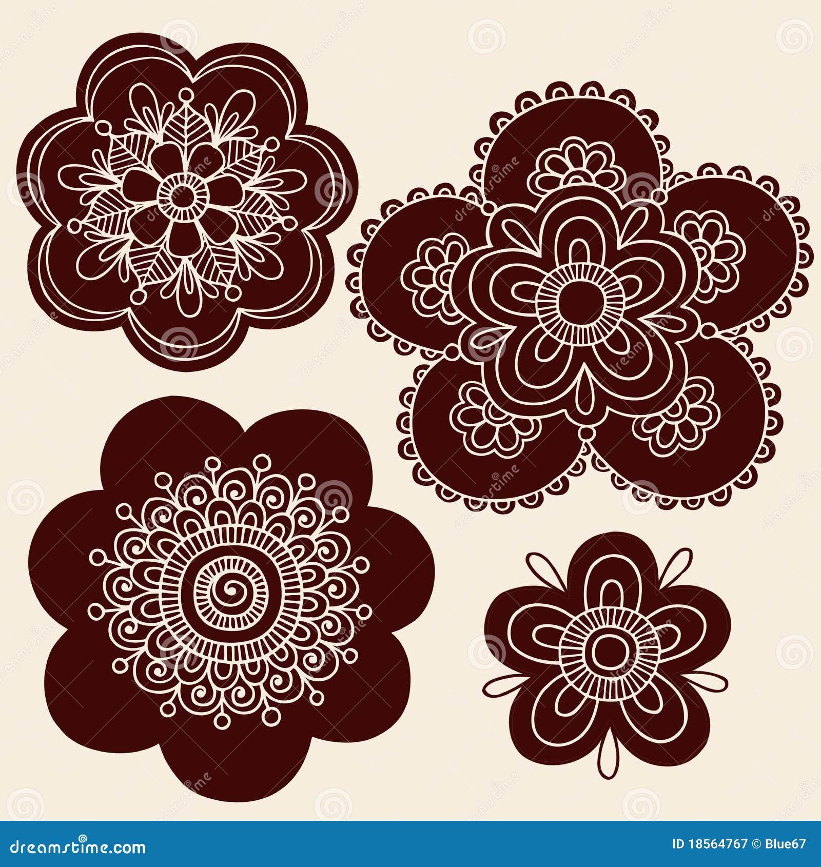 Henna Mehndi Vector Free : Henna mehndi tattoo flower silhouettes vector stock