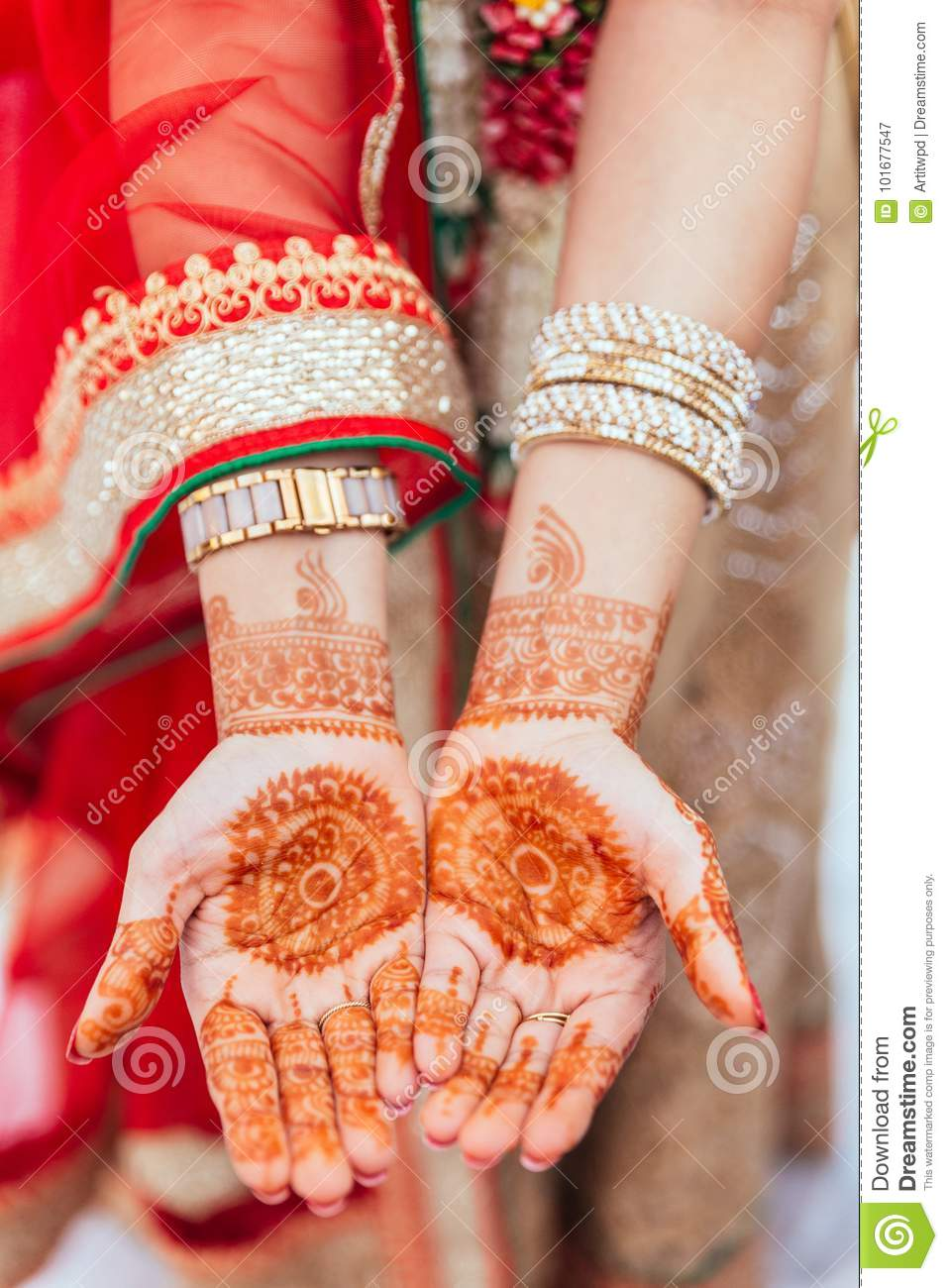 Henna Paint On Both Hands For Woman At Indian Wedding Ceremony In
