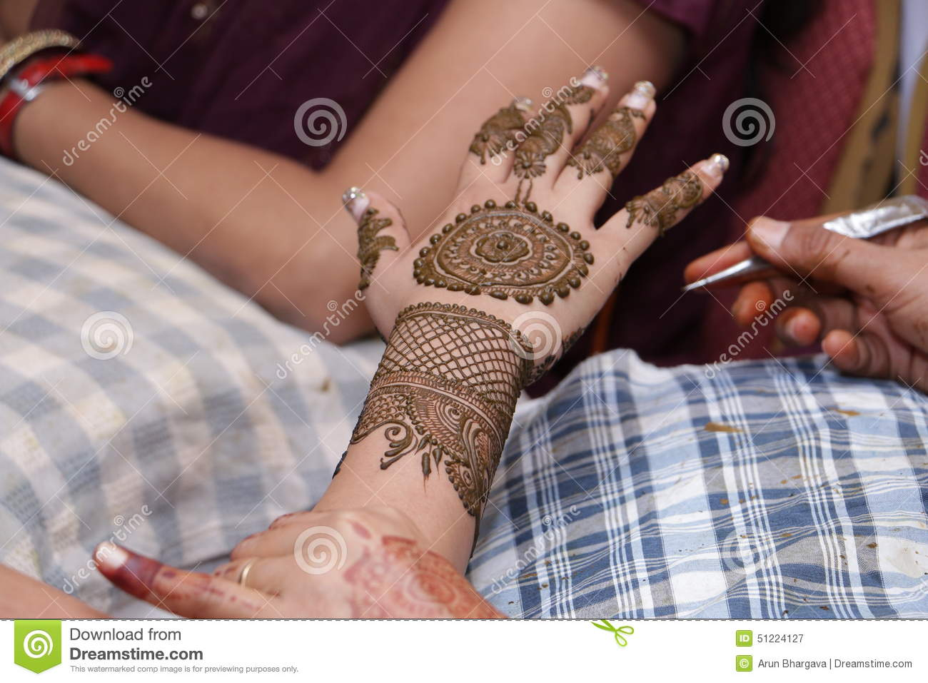 henna painting on hands stock photo   image 51224127