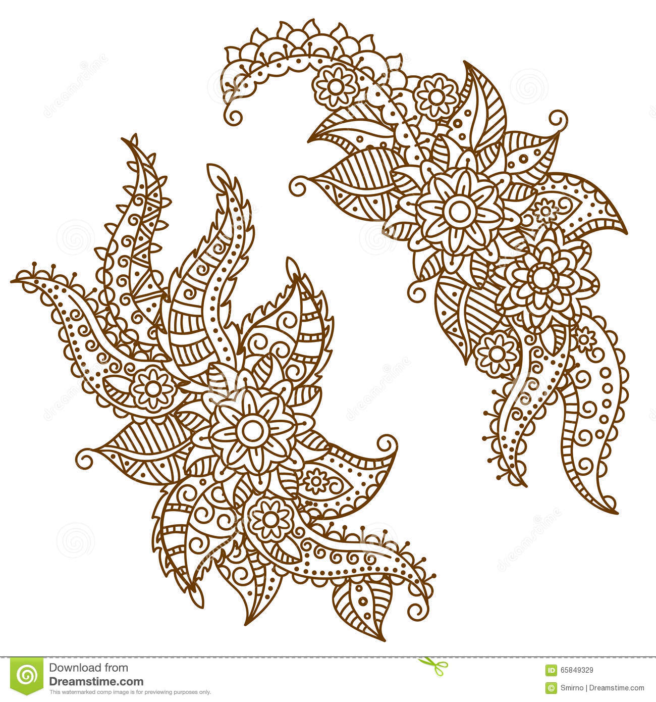 henna paisley flowers mehndi tattoo doodles design stock vector image 65849329. Black Bedroom Furniture Sets. Home Design Ideas