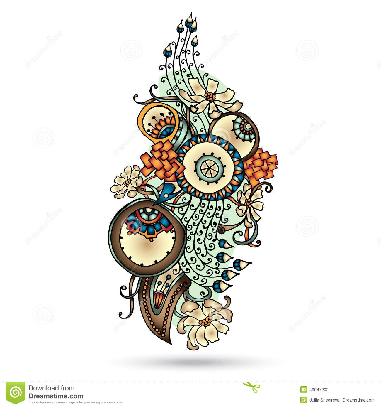 Abstract Flower Background With Decoration Elements For: Henna Paisley Mehndi Abstract Vector Element. Stock Vector