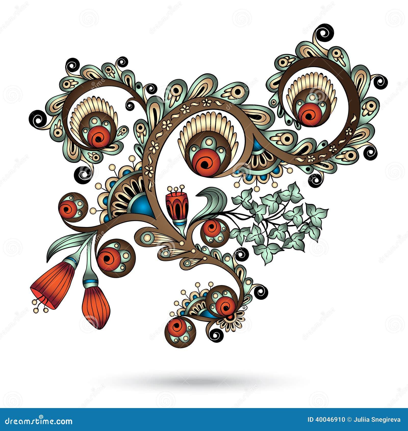 Henna Paisley Mehndi Abstract Vector Element Illustration 40046910