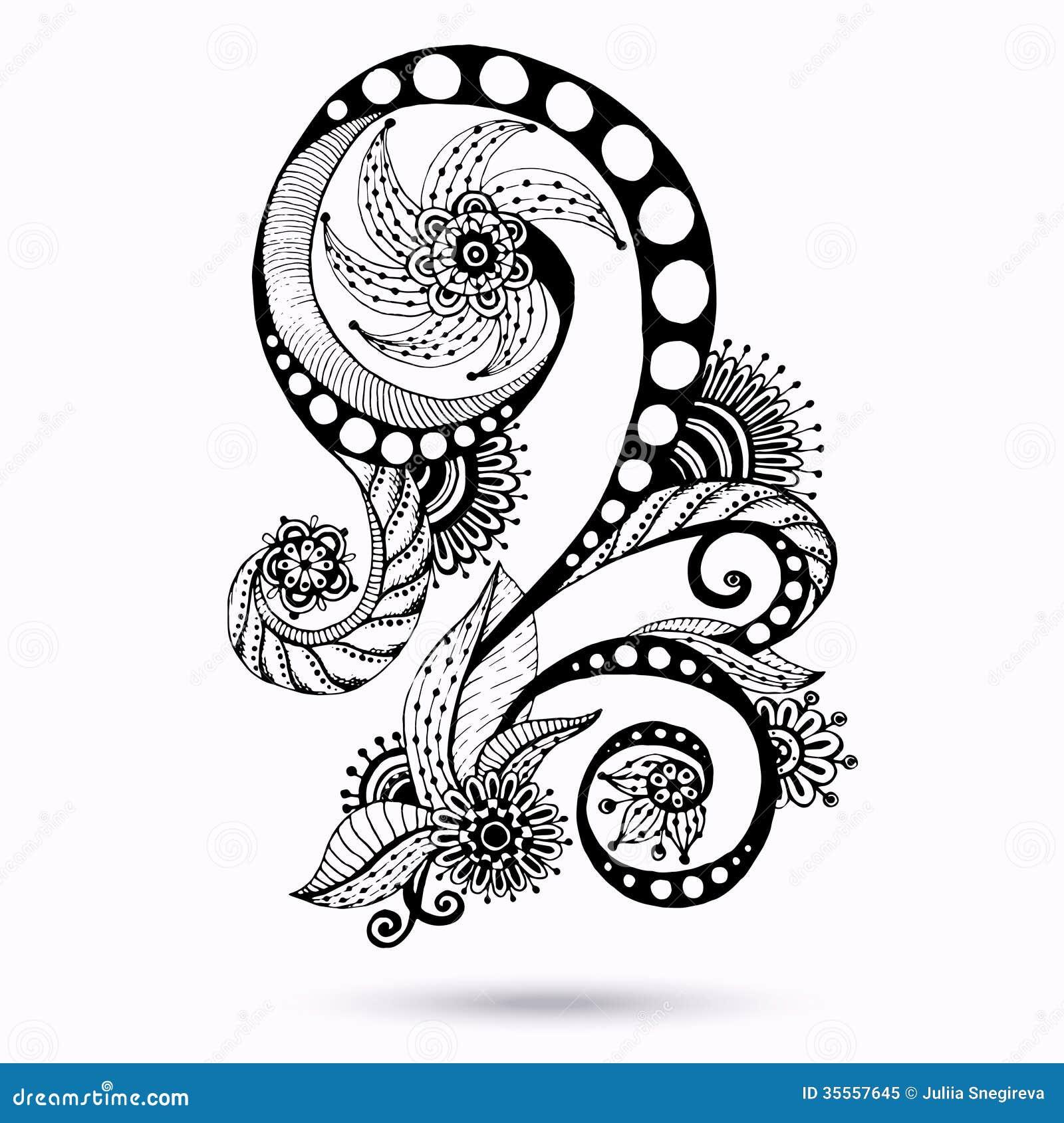 Henna Paisley Mehndi Doodles Design Element Royalty Free