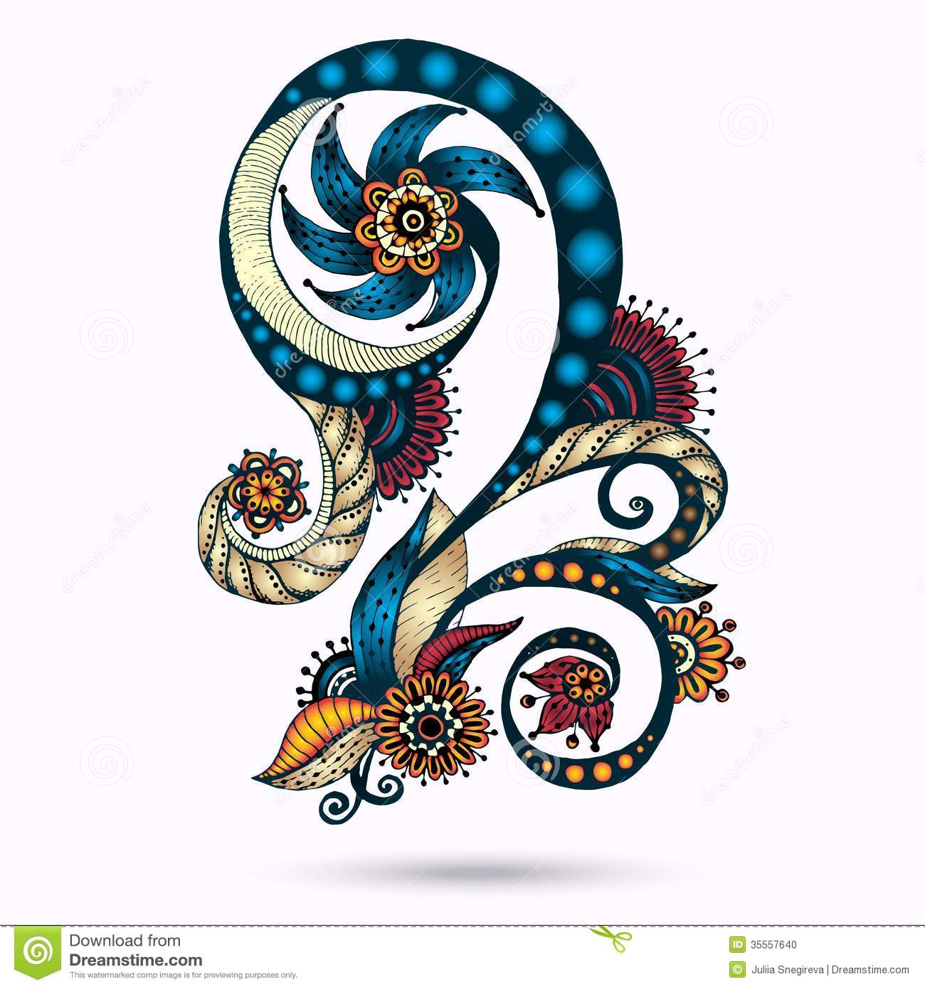 Colorful Henna Designs: Henna Paisley Mehndi Doodles Design Element. Stock Photo