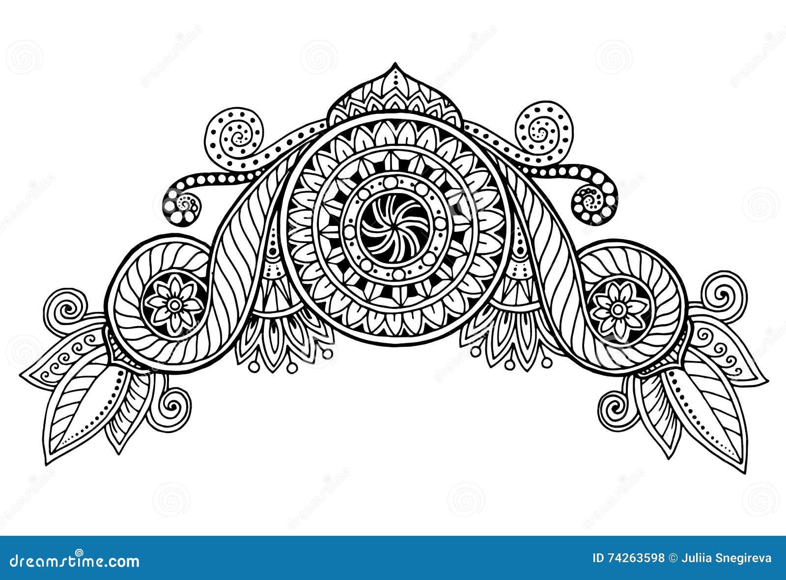 Henna Paisley Mehndi Doodles Design Tribal Design Element