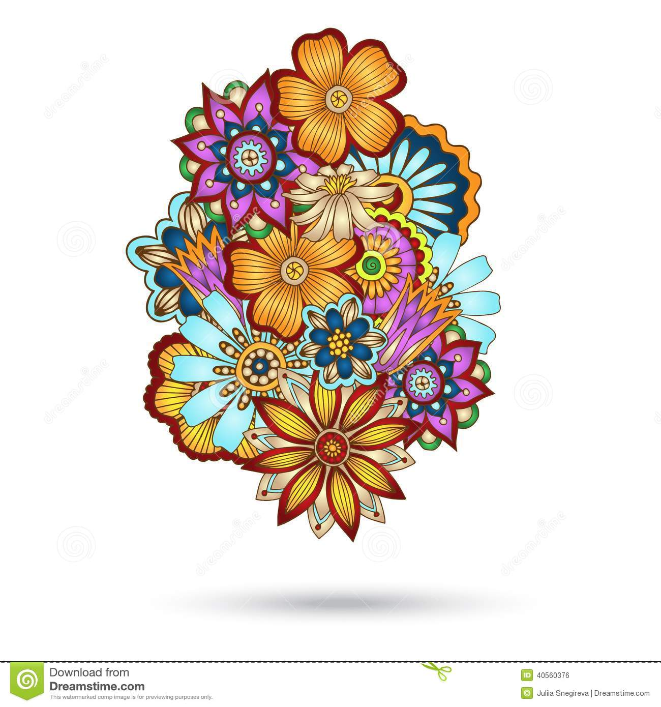 Colored flower doodles henna paisley floral vector design element