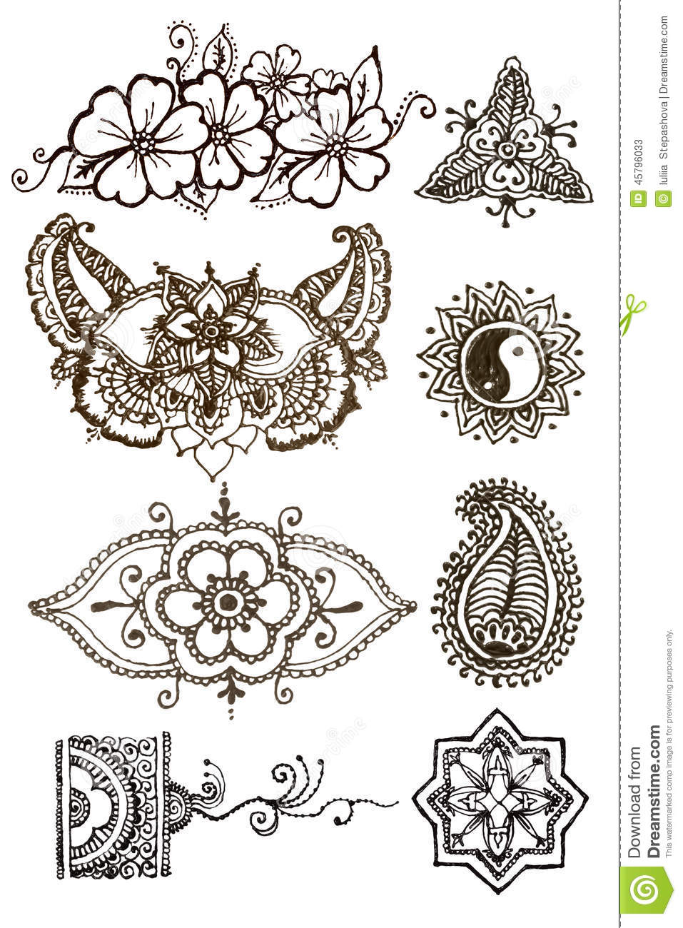 henna patterns tattoo on a white background stock illustration image 45796033. Black Bedroom Furniture Sets. Home Design Ideas