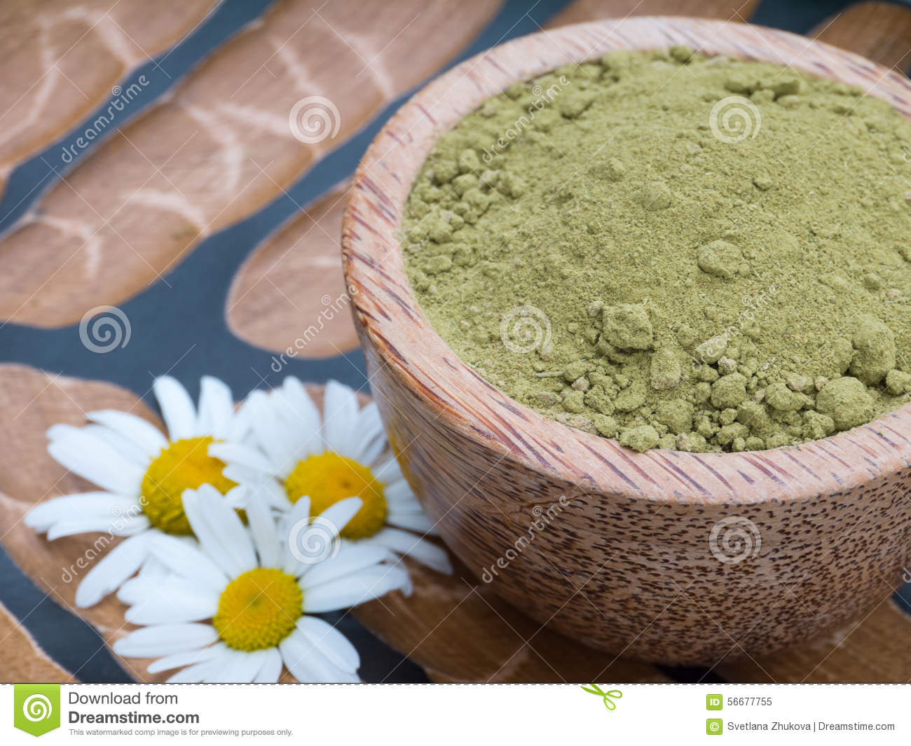 Henna Powder Hair Colourant In The Coconut Bowl And Chamomile Fl