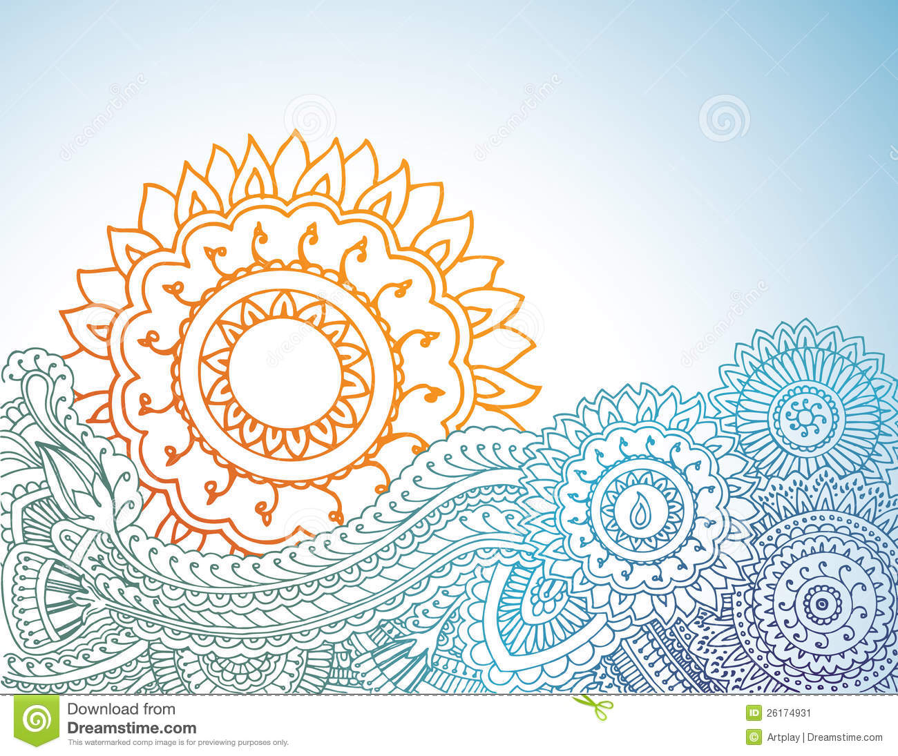 Henna Sunrise Stock Illustration Illustration Of Mendi 26174931