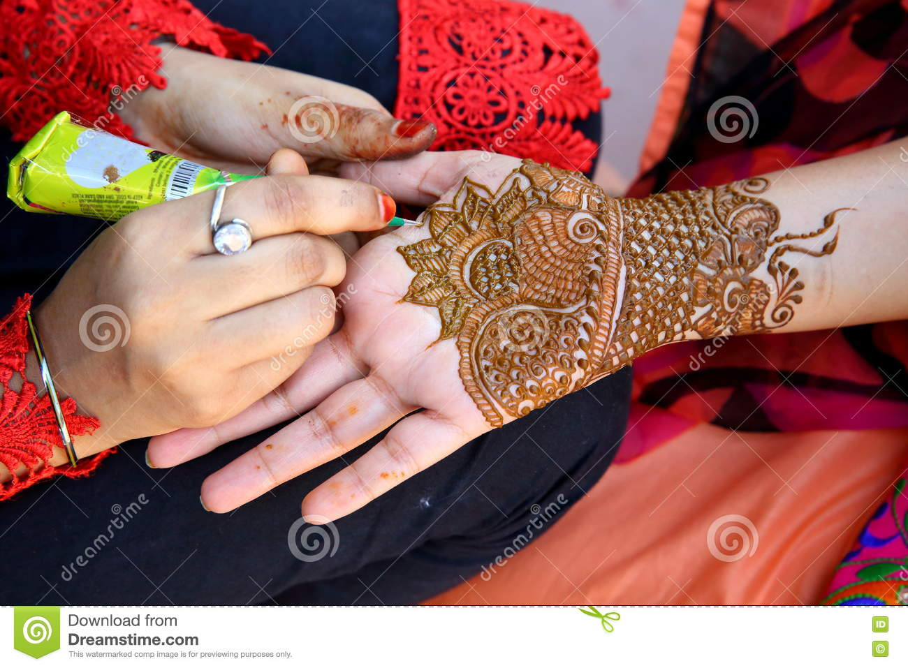 Henna Tatoo Stock Image Image Of Bhai Teej Temporary 75802643