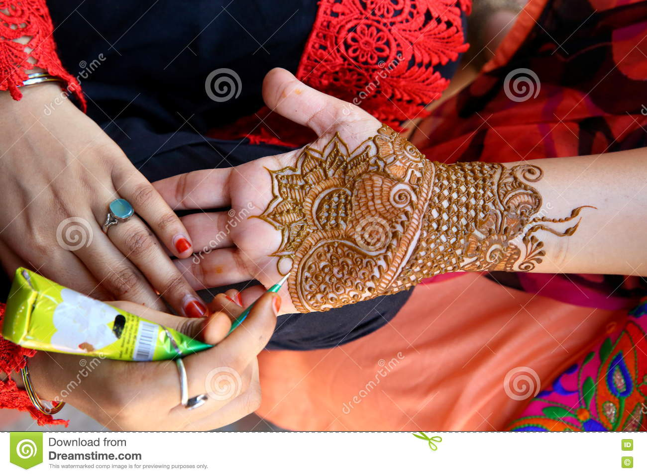 Henna Tatoo Stock Photo Image Of Teej Cooler Ornament 75802698