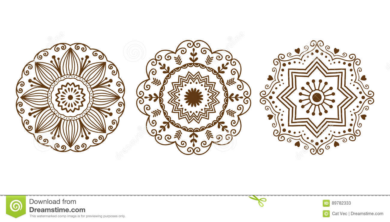 33d5d3efdf538 Henna tattoo brown mehndi flower template doodle ornamental lace decorative  element and indian design pattern paisley