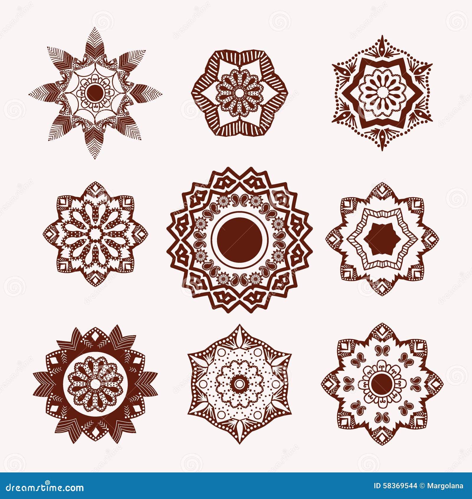 Henna Tattoo Design Element Mehndi Blumen Vektor Abbildung