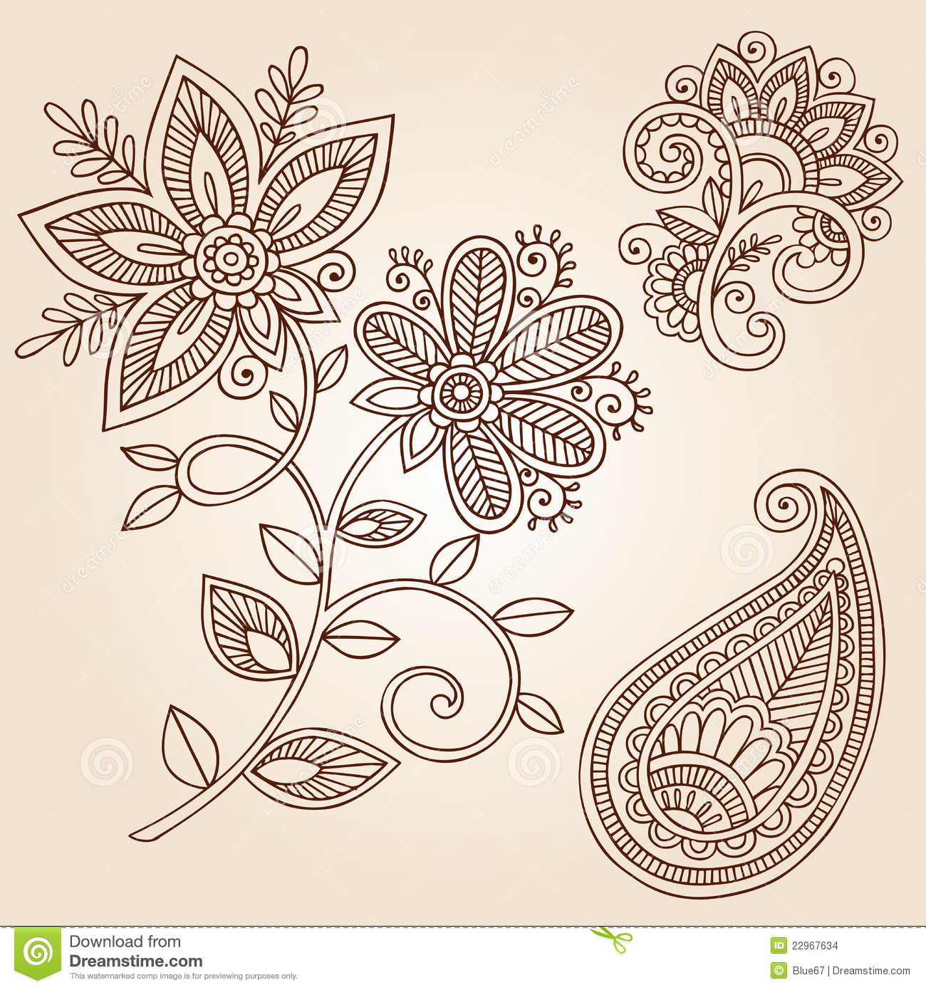 Henna Tattoo Flower Doodle Vector Design Elements
