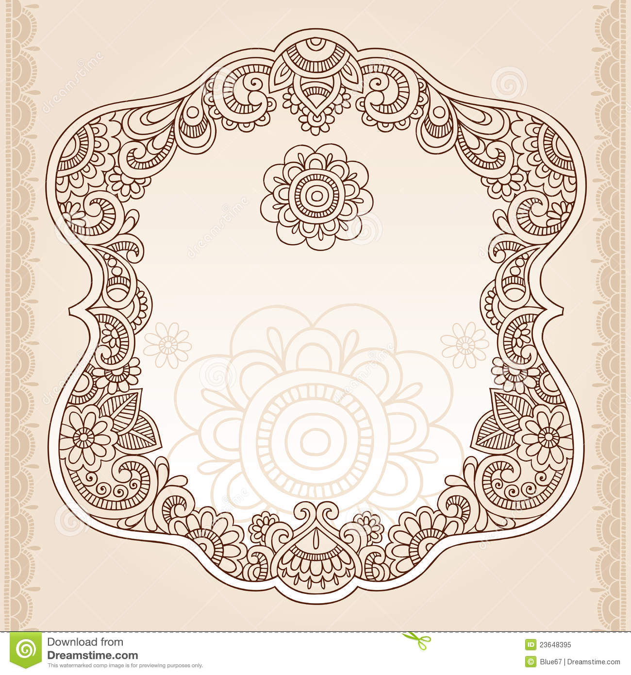 Mehndi Hand Vector Free Download : Henna tattoo flower frame doodle vector design stock
