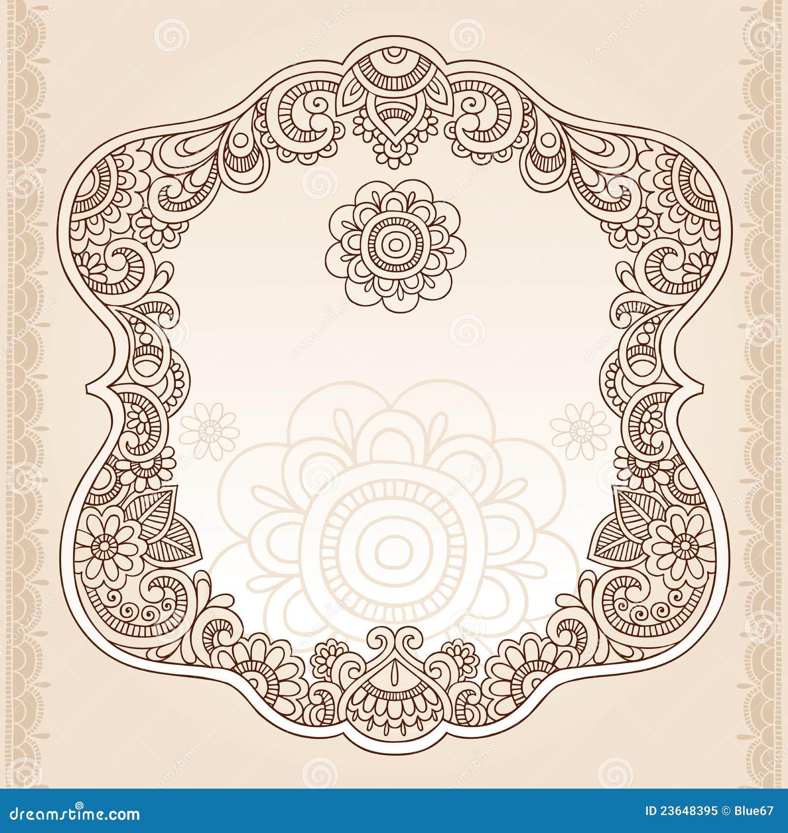 Lace doily henna flower vector illustration design - Henna Tattoo Flower Frame Doodle Vector Design Royalty Free Stock