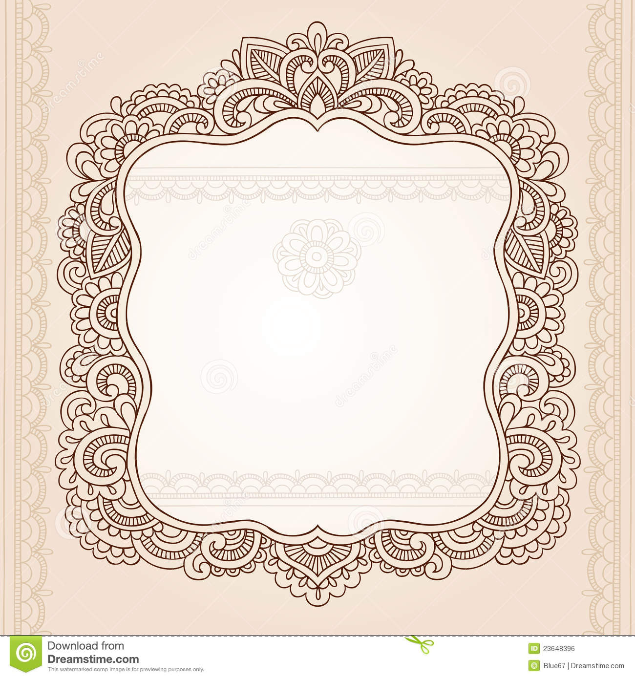 henna tattoo flower frame doodle vector design stock vector illustration of peace frame 23648396. Black Bedroom Furniture Sets. Home Design Ideas