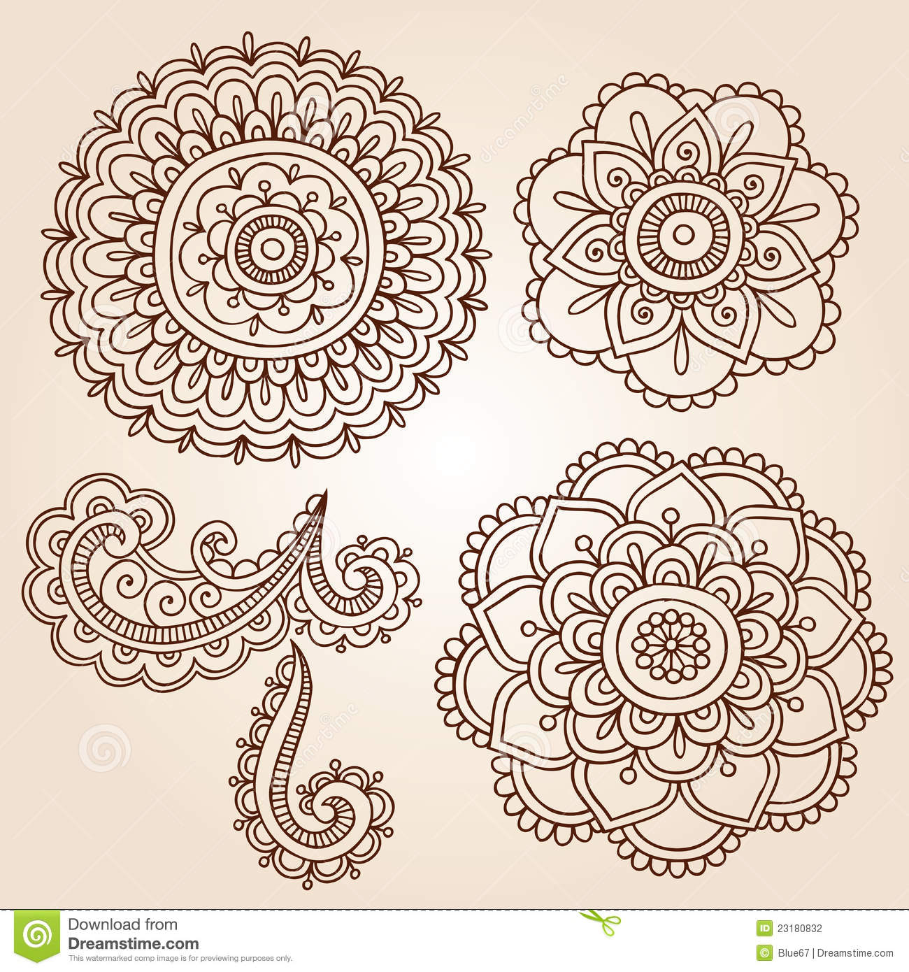 Henna mehndi mandala flower doodles abstract floral paisley design