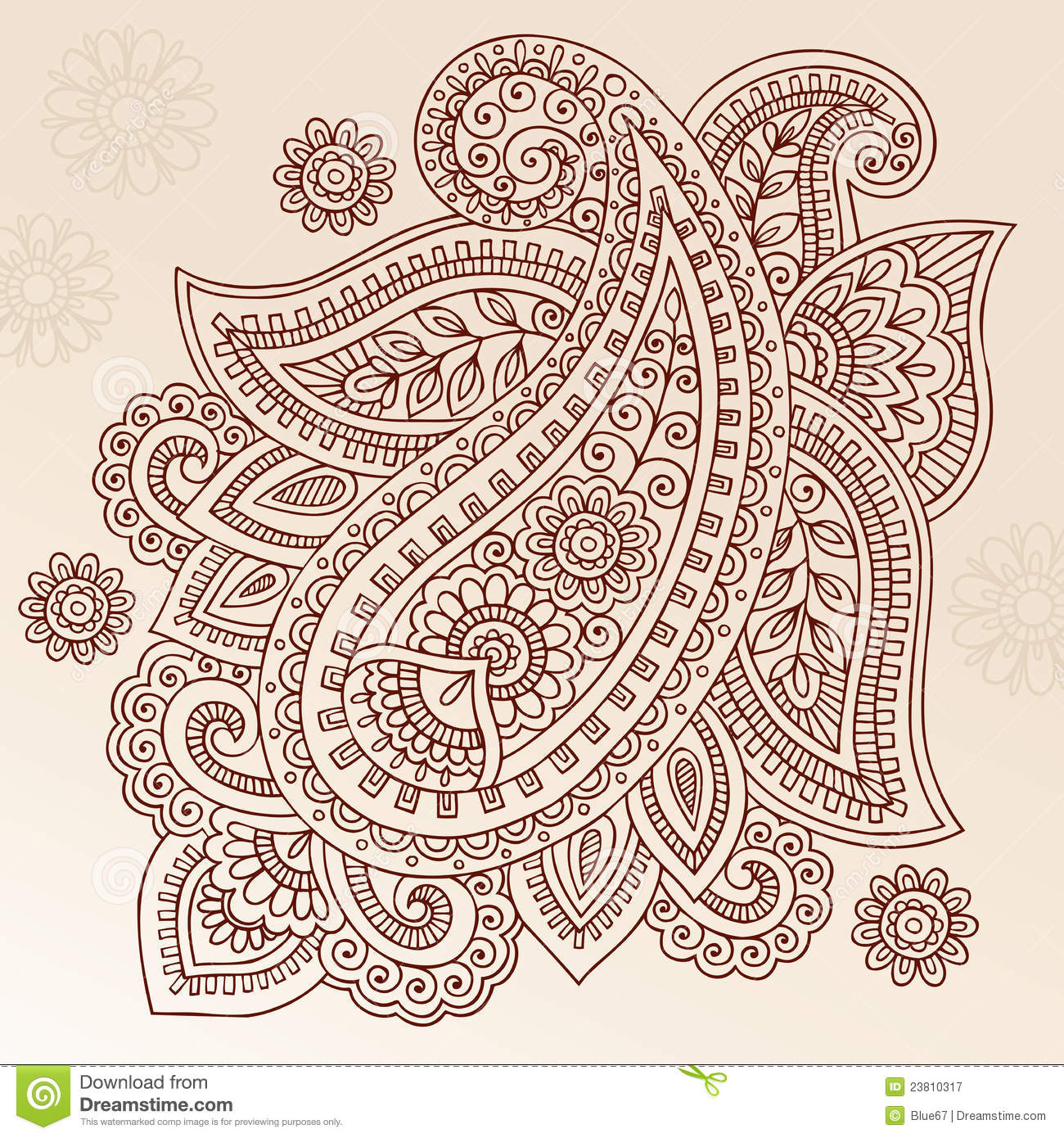 2c32419fb Henna Tattoo Flower Paisley Doodle Vector Design Stock Vector ...