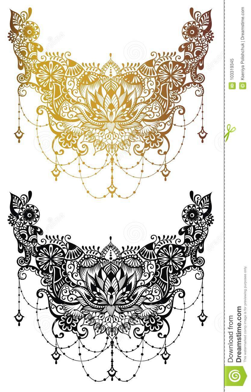 f4de75567 Henna tattoo flower template in Indian style. Ethnic floral paisley -  Lotus. Mehndi style. Royalty-Free Vector