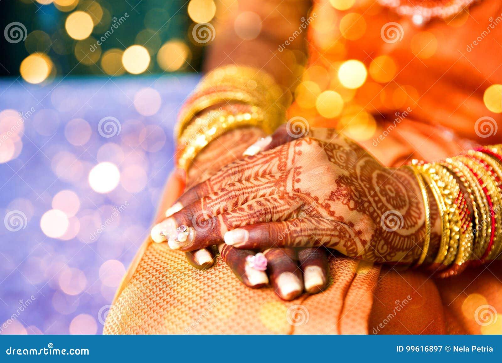 Henna Tattoo Indian Bride Stock Image Image Of Exotic 99616897