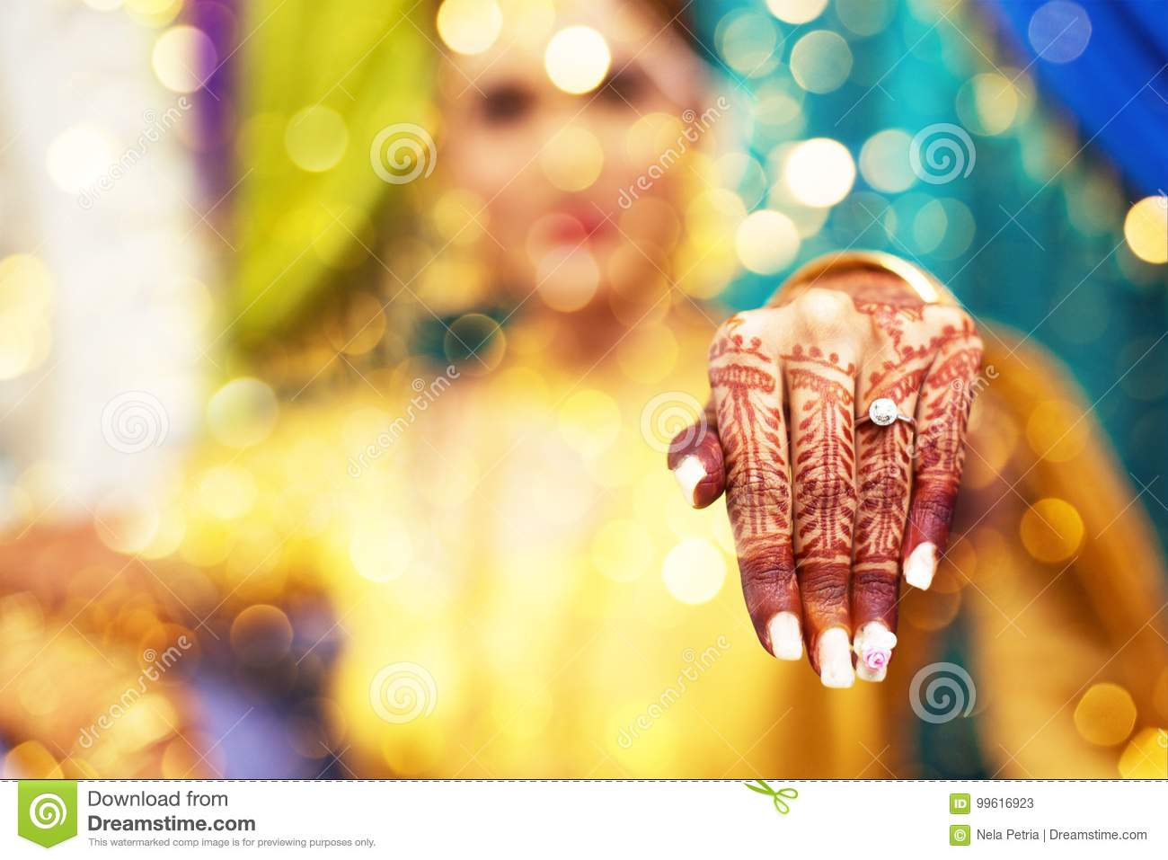 Henna Tattoo Indian Bride Stock Image Image Of Love 99616923