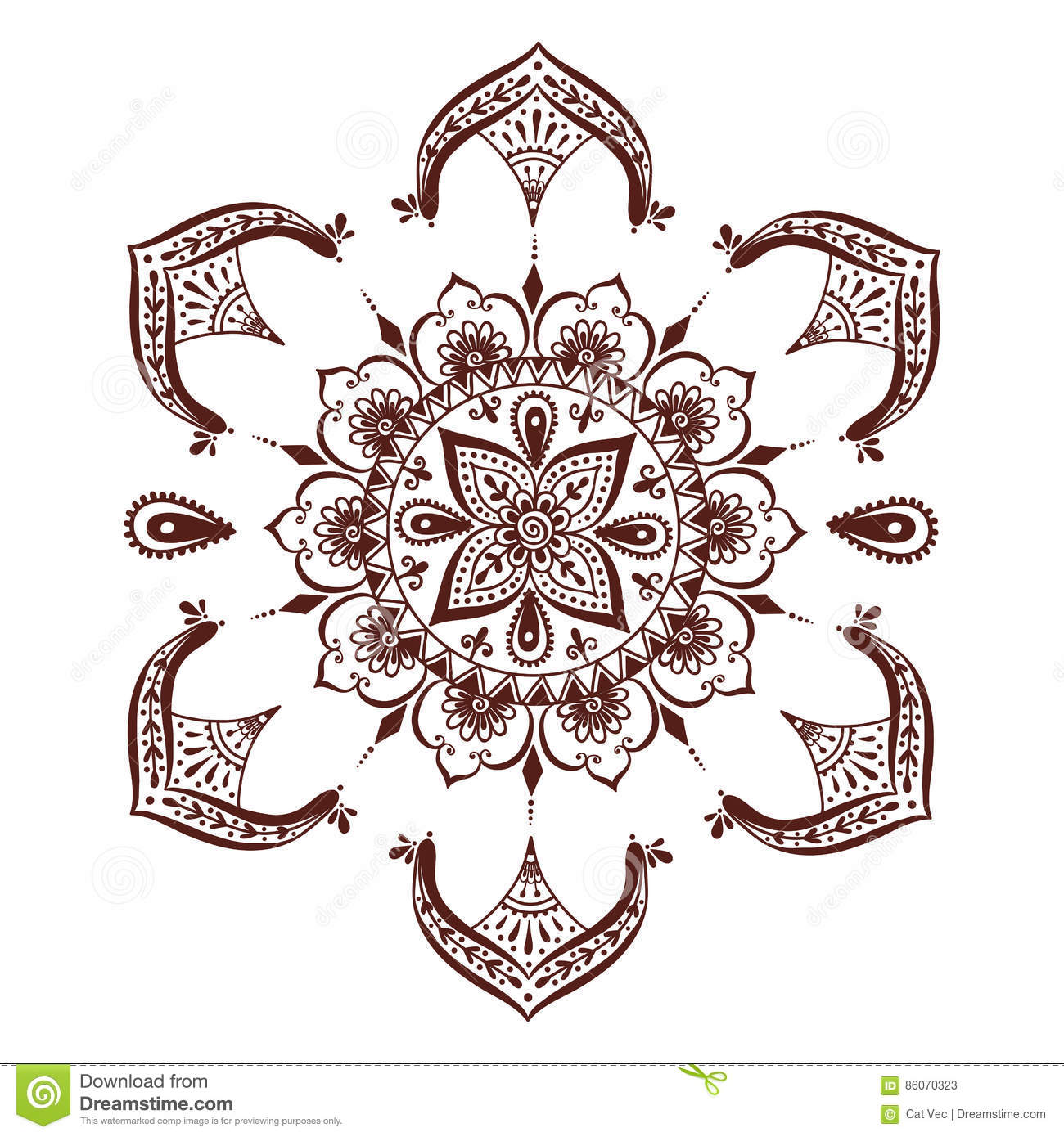 Henna Tattoo Flower Template In Indian Style: Henna Tattoo Mehndi Flower Template Vector Illustration