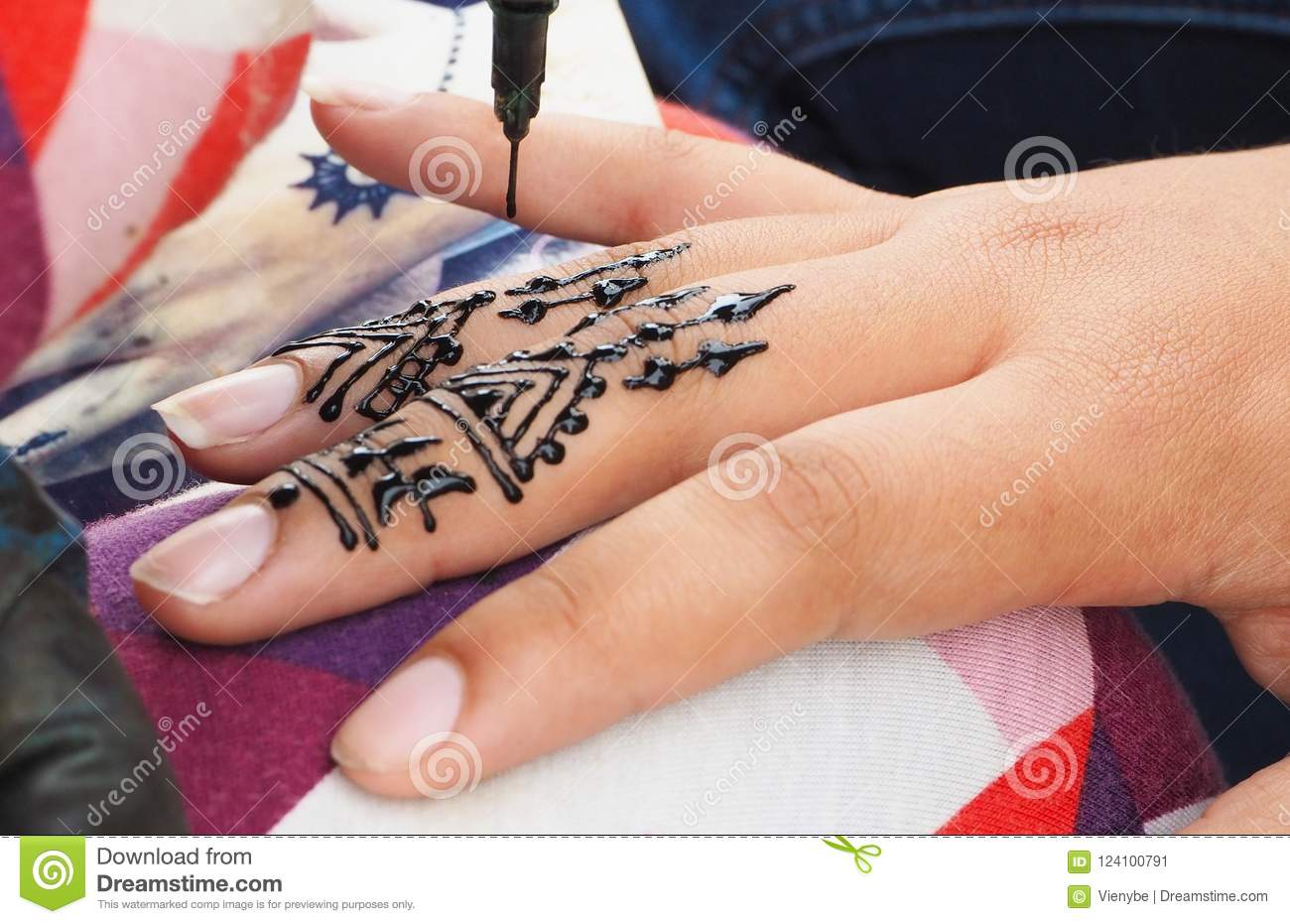 Henna Tattoos Being Put On Girls Hand In Morocco Stock Image Image