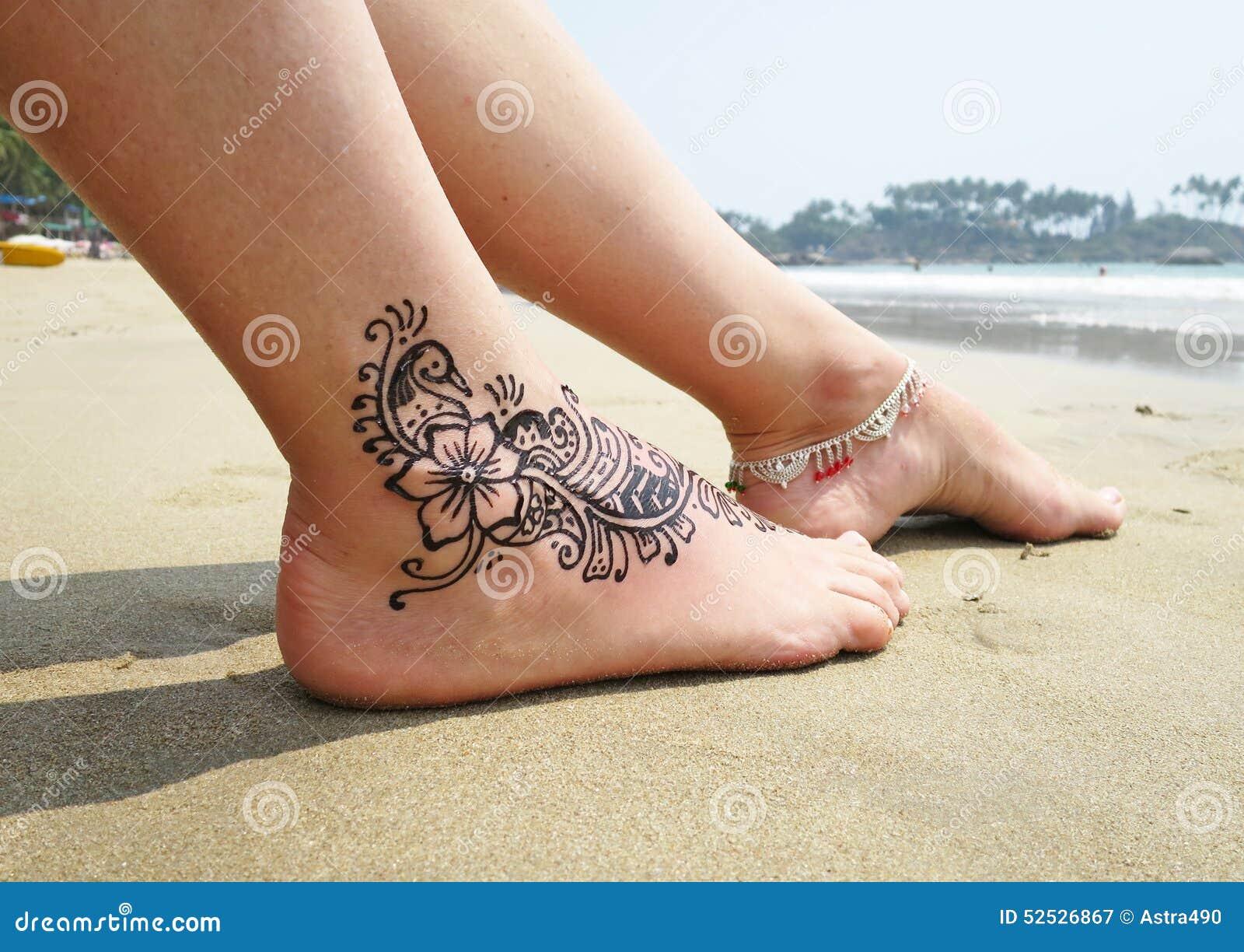 Henna Tatuaż Na Stopie Obraz Stock Obraz Złożonej Z Gorący