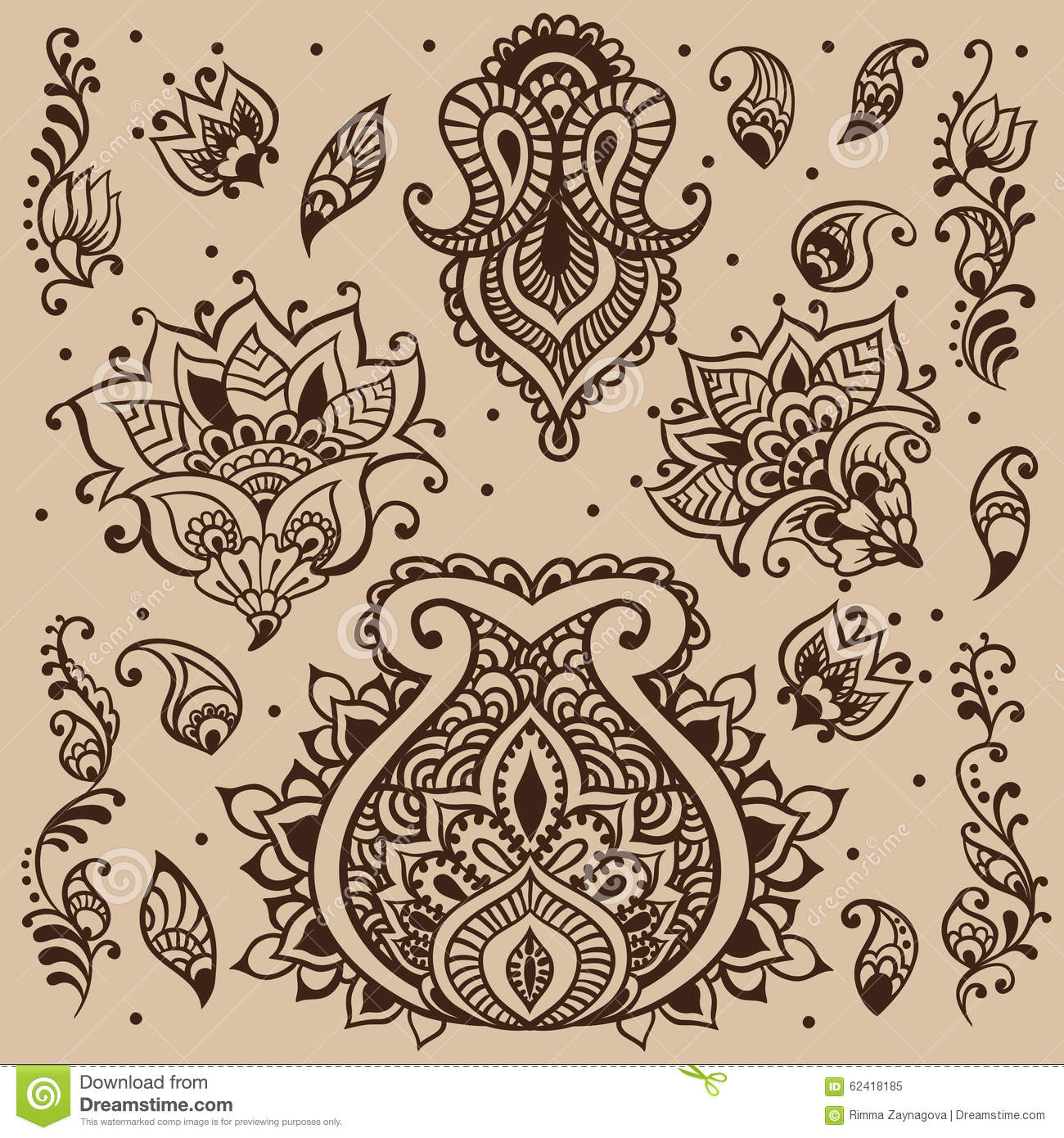 Henna Vector Design Stock Vector Illustration Of Arabic 62418185