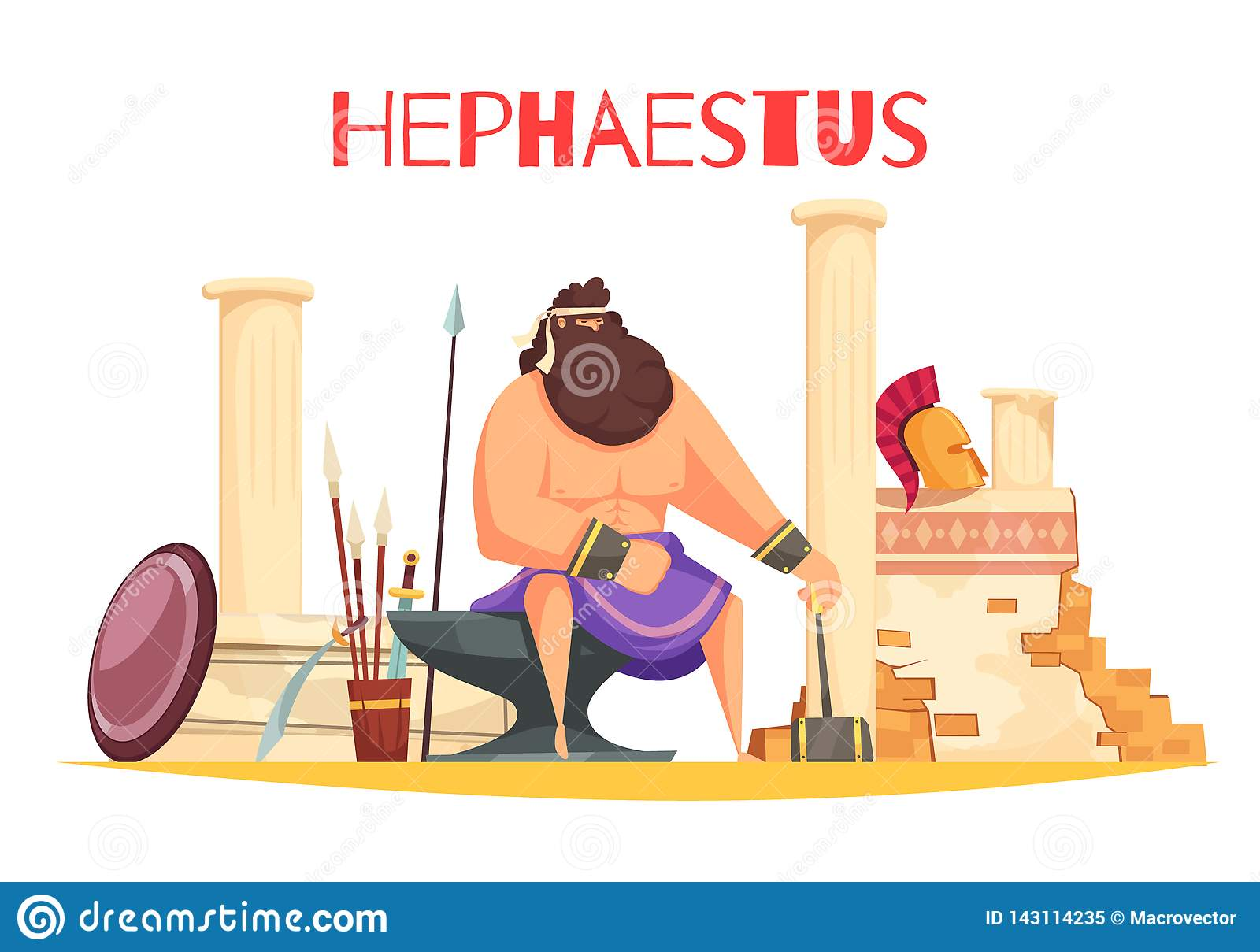 Hephaestus Cartoon Composition Stock Vector Illustration