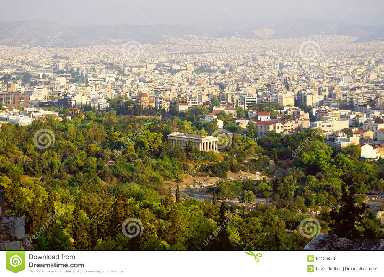 Hephaestus palace and Athens skyline view from Acropolis