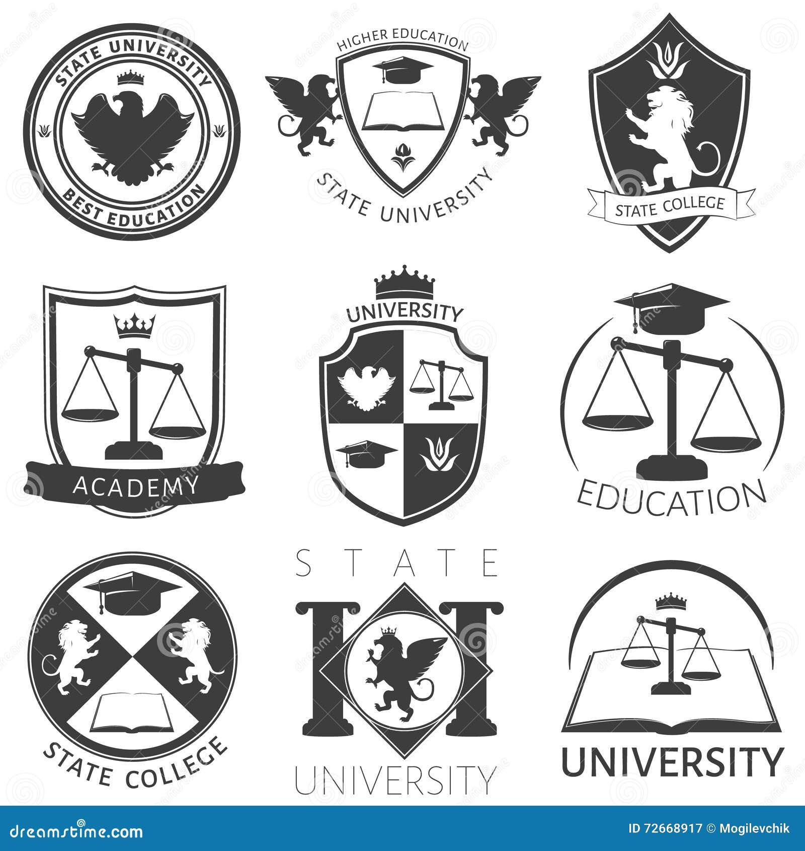 Heráldica de los emblemas del blanco del negro de la universidad