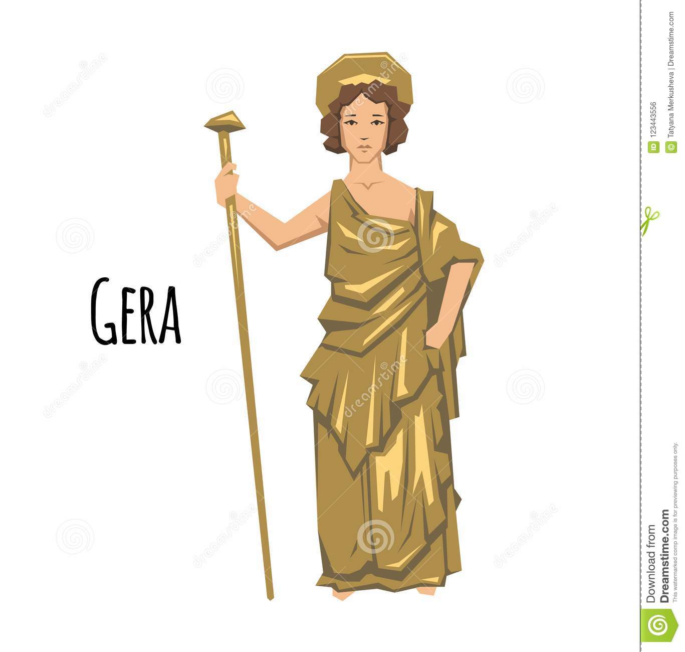 Hera, ancient Greek goddess of Marriage, Mothers and Families. Mythology. Flat vector illustration. on white