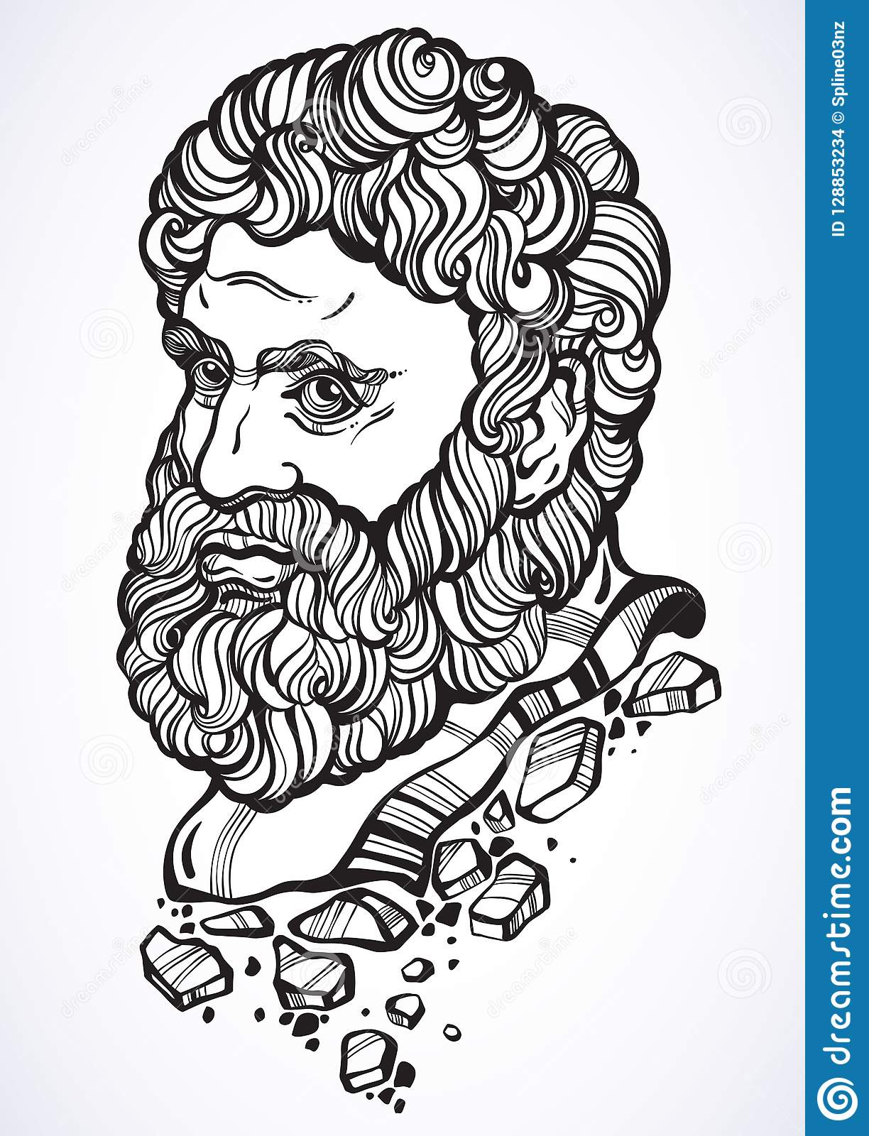 Heracles The Mythological Hero Of Ancient Greece Hand Drawn Beautiful Vector Artwork Isolated Myths And Legends Tattoo Art Stock Vector Illustration Of Counrty Isolated 128853234