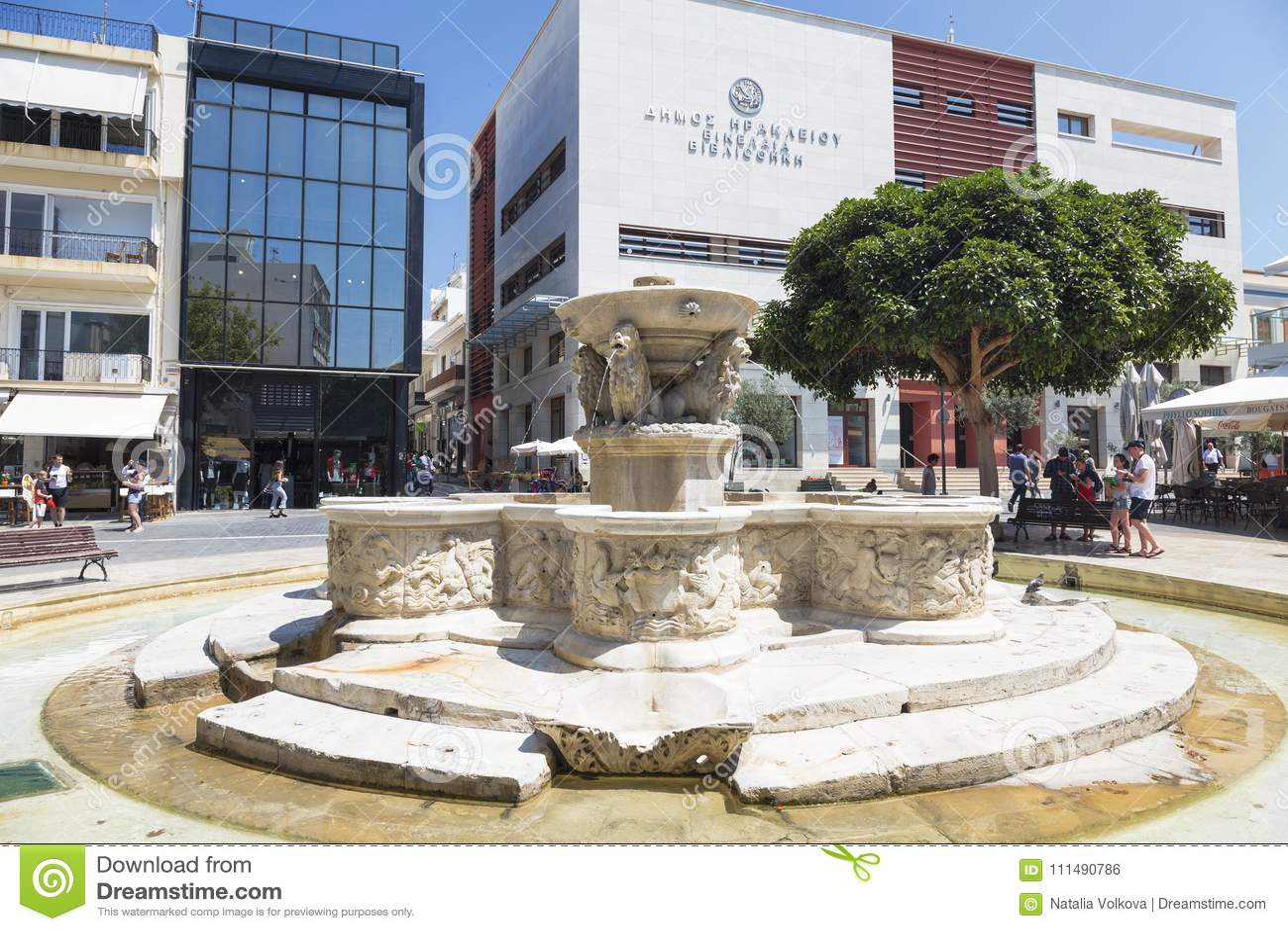 Heraklion, Lion Fountain eller också Morozini springbrunn i de fyrkantiga lejonen crete