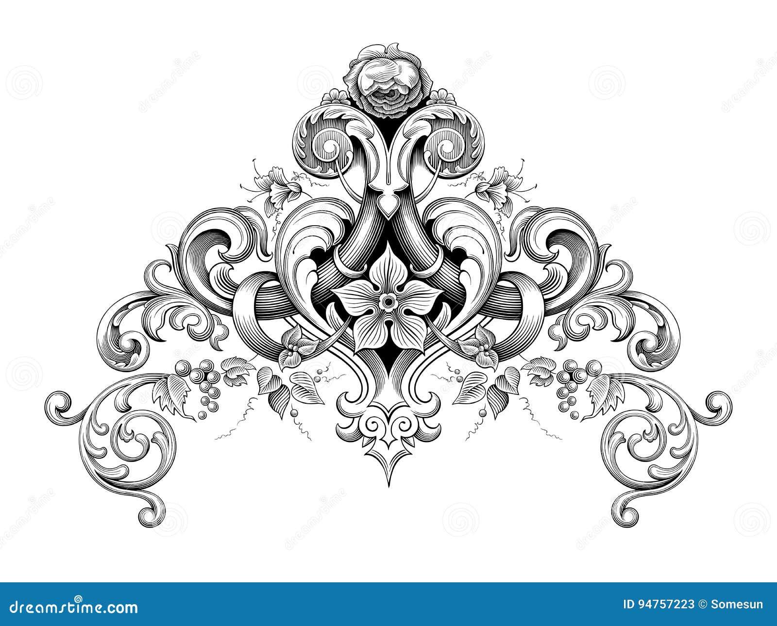 heraldi calligraphique de vecteur de tatouage de mod le grav par rouleau victorien baroque d. Black Bedroom Furniture Sets. Home Design Ideas