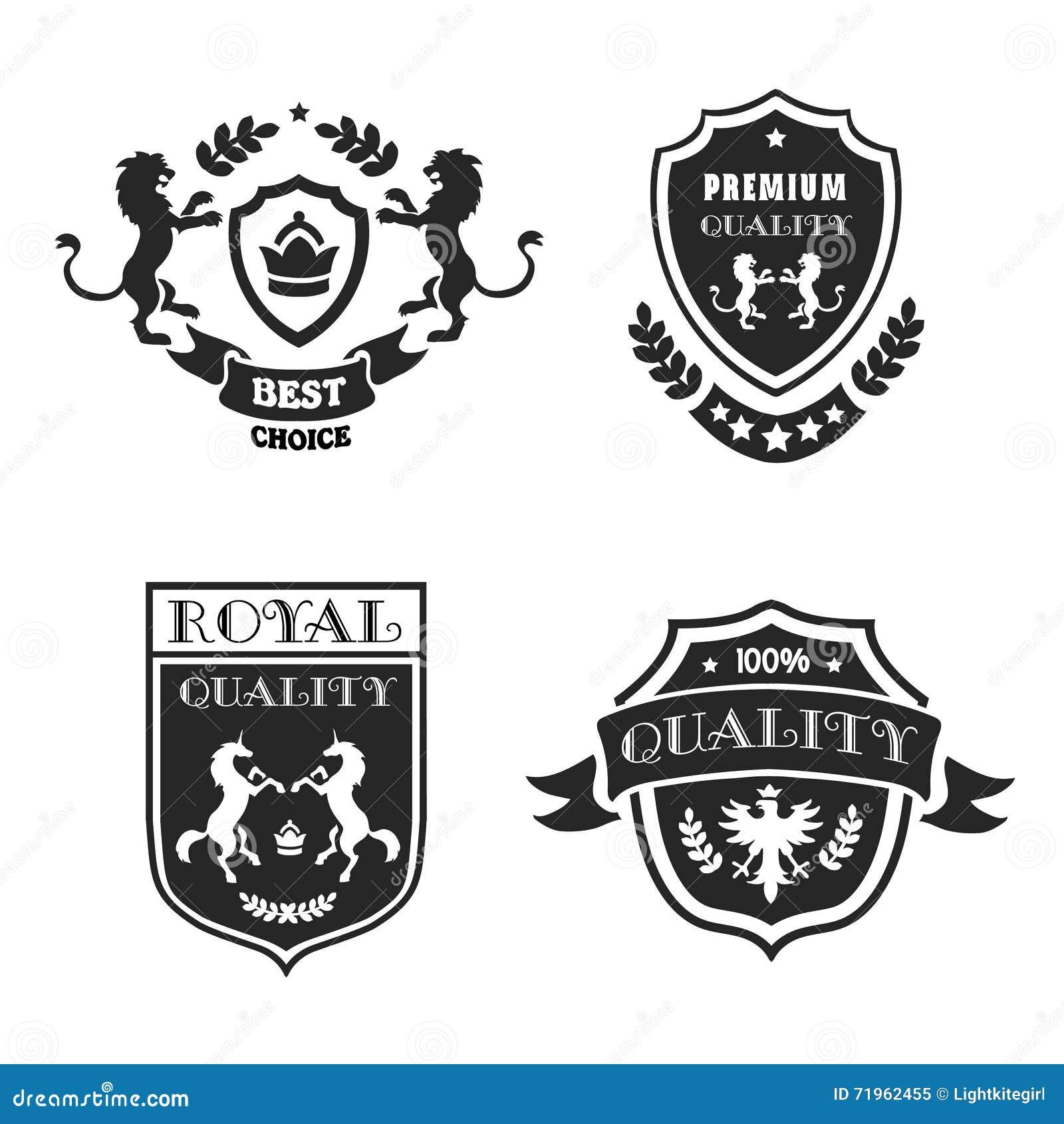 Heraldic качество элементов черными установленное эмблемами наградное также вектор иллюстрации притяжки corel