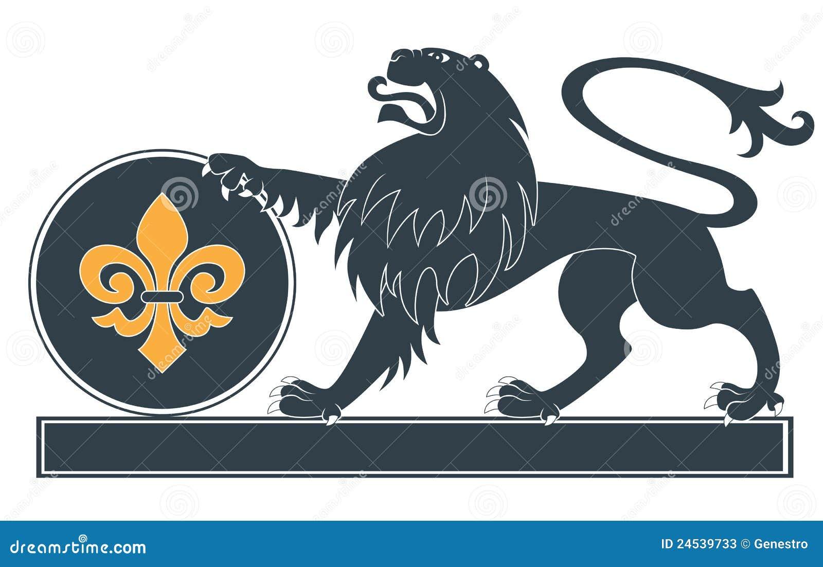 Heraldic силуэт льва